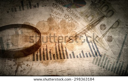 Background old styled image with business concepts - stock photo