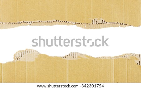 Background or border of cardboard isolated on white. - stock photo