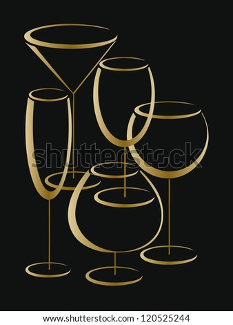 Background or cower of wine card with set of gold glasses for alcohol drinks. Jpeg version.