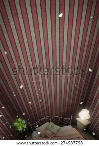 Background or greeting card or illustration with room and bed - stock photo