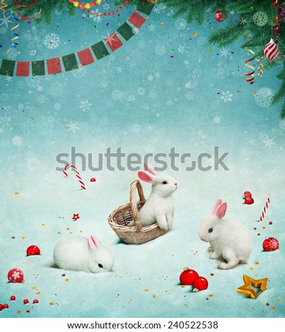 Background or greeting card with Bunny and Christmas toys - stock photo