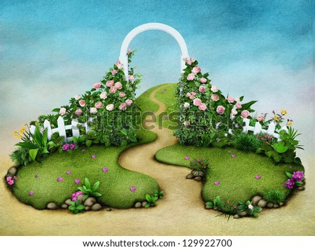 Background or illustration green meadow with roses and footpath - stock photo