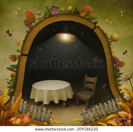 Background or illustration with  fabulous house.  - stock photo