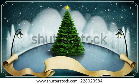 Background or illustration with winter night landscape and tree - stock photo