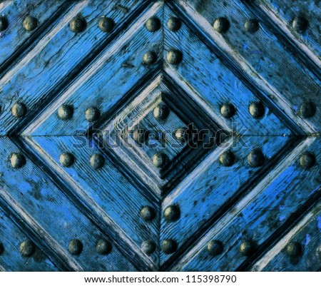 background or texture artifact wooden doors blue - stock photo