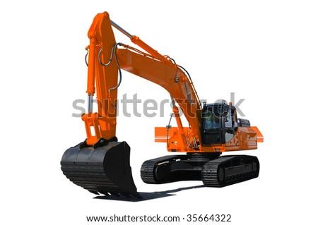 Background. Orange bulldozer - stock photo