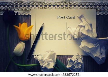 background post card with a bouquet of flowers