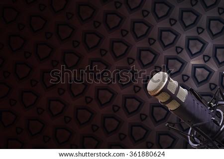 background: professional radio broadcast Microphone - stock photo