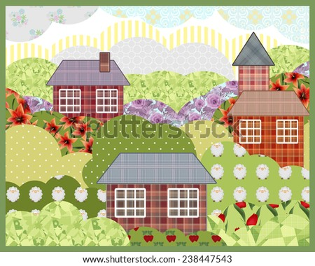 Background retro patchwork summer nature landscape picture illustration