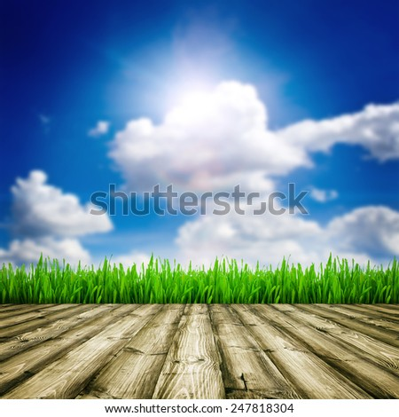 Background room interior. Fresh spring green field grass with blue bokeh and sunlight and wood floor.  - stock photo