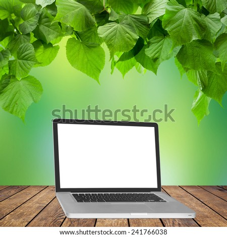 Background room interior. laptop on the wood floor.  - stock photo