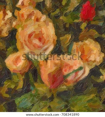 Background. Rose. Flowers. Stylization: Oil painting
