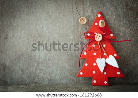 background rustic - red wooden Christmas decoration - stock photo