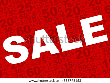 Background - Sale Sign With Various Percentage Symbols on Red Background