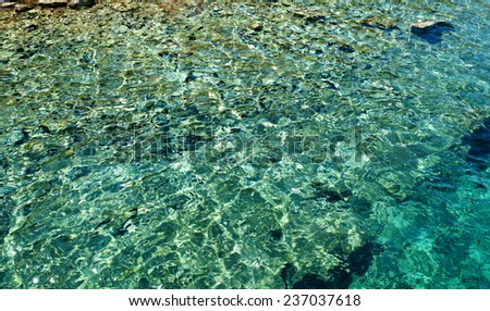 Background sea ripples on shoal of turquoise color.
