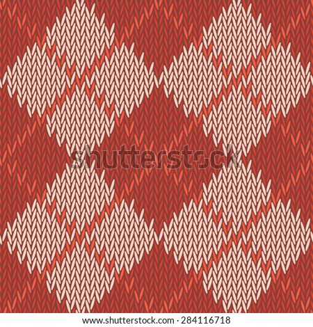 background seamless pattern texture of red with beige square wool knitwear - stock photo
