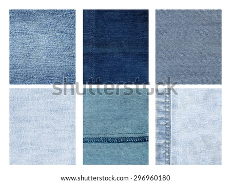 background - Set of different textures of denim