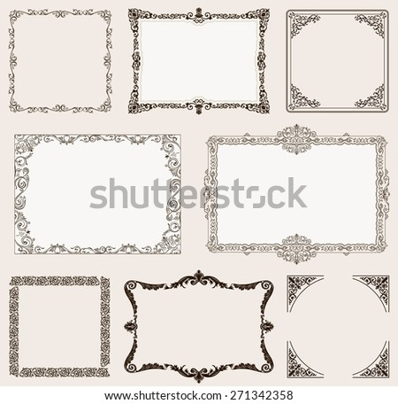 background set. Ornate frames and vintage scroll elements for design - stock photo