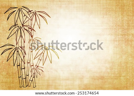 Background - sheet old paper with image of bamboo - stock photo