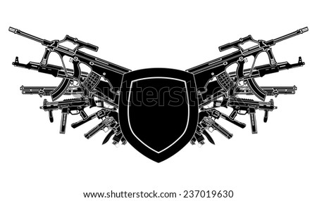 background shield banner weapon svd pomegranate grenade bombshell whizzbang chopper sniper rifle taurus s&w Heckler & Koch hk Browning Mauser REVOLVER Colt Smith & Wesson Parabellum magnum beretta - stock photo