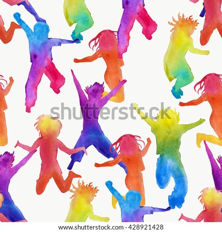 Background silhouette of children. girls and boys. seamless pattern. watercolor illustration. - stock photo