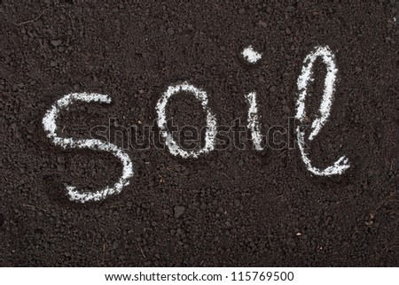 Background soil and the inscription - stock photo