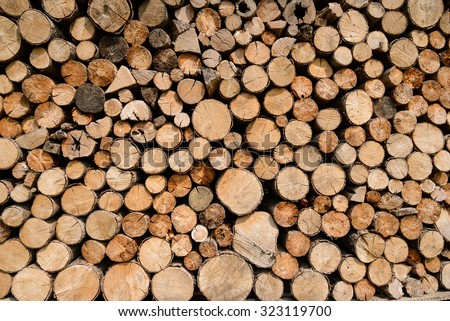 background stack of wood - stock photo