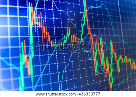 Background stock chart. Blue background with stock chart. Price chart bars. Finance concept. Professional market analysis. Stock market graph on the screen.