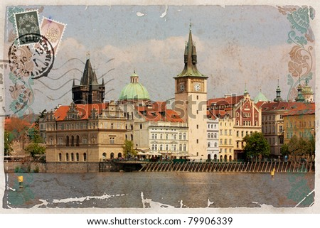 Background, stylized as vintage postcard, with a view of Prague. - stock photo