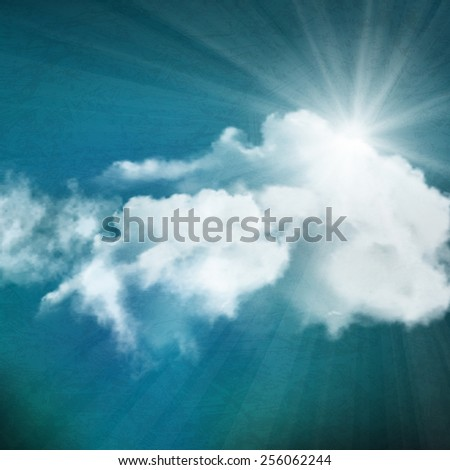 background, sun over clouds - stock photo