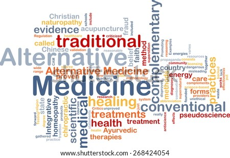 Background text pattern concept wordcloud illustration of alternative medicine - stock photo