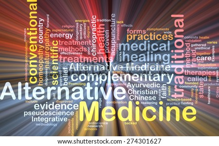 Background text pattern concept wordcloud illustration of alternative medicine glowing light