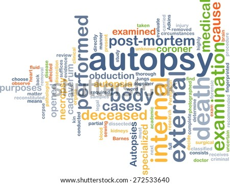 Background text pattern concept wordcloud illustration of autopsy examination