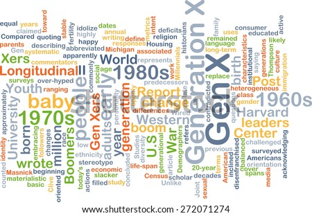 Background text pattern concept wordcloud illustration of generation gen x - stock photo
