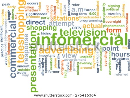 Background text pattern concept wordcloud illustration of infomercial