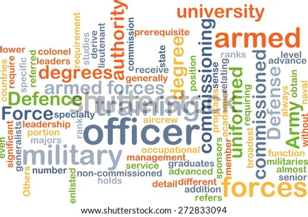 Background text pattern concept wordcloud illustration of military officer