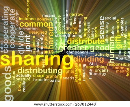 Background text pattern concept wordcloud illustration of sharing glowing light - stock photo
