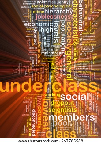 Background text pattern concept wordcloud illustration of underclass society glowing light - stock photo