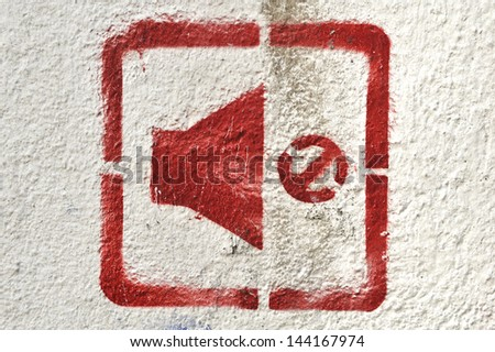 Background texture and sign not sound in red - stock photo