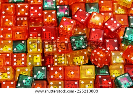 Background texture made from colorful dice toys  - stock photo