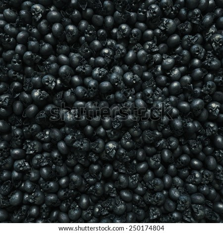Background, texture made of human skulls with copy space - stock photo