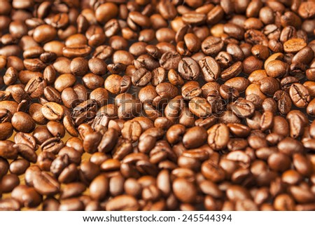 Background Texture Made of Roasted Coffee Beans.Horizontal Image - stock photo