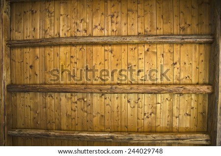 Background texture of ceiling made out of wooden beams. - stock photo