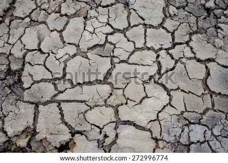 background texture of dry soil with cracks - stock photo