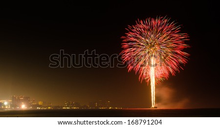 background texture of fireworks in the night at Hua Hin Thailand - stock photo