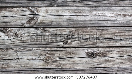 background texture of old worn wood planks with knots