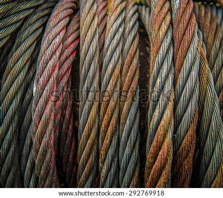 Background Texture Of Some Heavy Duty Industrial Metal Cables Or Rope - stock photo