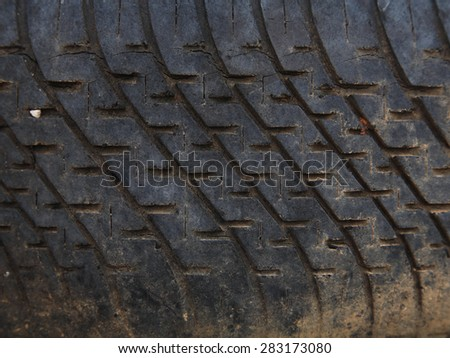 Background texture of used car tire, square shape - stock photo