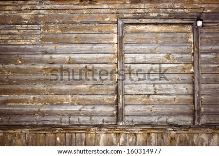 Background texture: Old wooden wall with empty window frame
