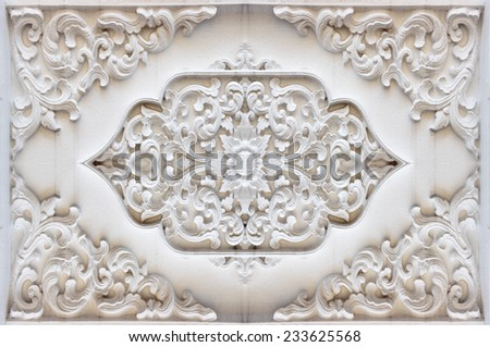 Background texture stucco wall Thailand religion;Traditional Thai style pattern decorative ; stucco  in temple,Thailand. - stock photo